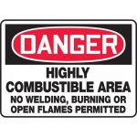 """Accuform MCHL039XV, OSHA Sign """"Danger Highly Combustible Area…"""""""