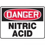 "Accuform MCHL044VA, Aluminum OSHA Sign ""Danger Nitric Acid"""