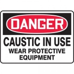 """Accuform MCHL064XP, OSHA Sign """"Caustic in Use Wear Protective…"""""""