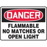 """Accuform MCHL076VA, OSHA Sign """"Flammable No Matches or Open Light"""""""