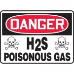 "Accuform MCHL084VA, Aluminum OSHA Sign with Legend ""H2S Poisonous Gas"""