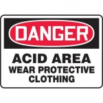 "Accuform MCHL107VA, Aluminum Sign ""Acid Area Wear Protective Clothing"""