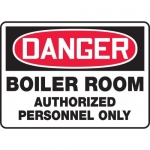 "Accuform MCHL108XV, OSHA Sign ""Boiler Room Authorized Personnel Only"""