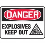 """Accuform MCHL121XP, Accu-Shield OSHA Sign """"Explosives Keep Out"""""""