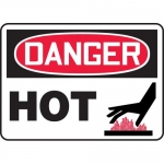 "Accuform MCHL125XV, Dura-Vinyl OSHA Sign ""Danger Hot"" & Symbol"