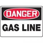 "Accuform MCHL128XV, Adhesive Dura-Vinyl OSHA Sign ""Danger Gas Line"""