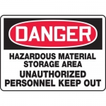 "Accuform MCHL129XL, OSHA Sign ""Hazardous Material Storage Area…"""