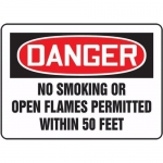 "Accuform MCHL154XL, OSHA Sign ""No Smoking or Open Flames Permitted"""