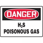 "Accuform MCHL177VA, Aluminum OSHA Sign ""Danger H2S Poisonous Gas"""