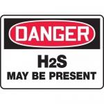 """Accuform MCHL218VA, Aluminum OSHA Sign """"Danger H2S May Be Present"""""""