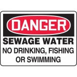 "Accuform MCHL242XP, OSHA Sign ""Sewage Water No Drinking, Fishing…"""