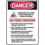 "Accuform MCHL277VA, Sign ""Combustible Gas Hazard Follow Procedure…"""