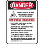 "Accuform MCHL279VA, Sign ""Combustible Gas Hazard Follow Procedure…"""