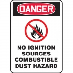 """Accuform MCHL293XL, OSHA Sign """"No Ignition Sources Combustible…"""""""