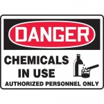 "Accuform MCHL299XV, OSHA Sign ""Chemicals in Use Authorized…"""