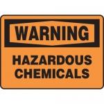 "Accuform MCHL308VS, Vinyl OSHA Sign ""Warning Hazardous Chemicals"""