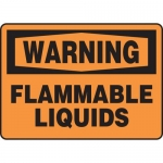 "Accuform MCHL313VA, Aluminum OSHA Sign ""Warning Flammable Liquids"""