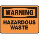 "Accuform MCHL317XT, Dura-Plastic OSHA Sign ""Warning Hazardous Waste"""