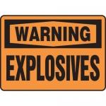 """Accuform MCHL329XV, Adhesive Dura-Vinyl OSHA Sign """"Warning Explosives"""""""