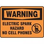 "Accuform MCHL342XT, OSHA Sign ""Electric Spark Hazard No Cell Phones"""