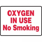 """Accuform MCHL584VA, Aluminum Sign """"Oxygen in Use No Smoking"""""""