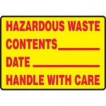 "Accuform MCHL595XL, OSHA Sign ""Hazardous Waste Handle with Care"""