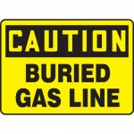 "Accuform MCHL625VA, Aluminum OSHA Sign ""Caution Buried Gas Line"""