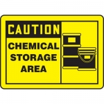 "Accuform MCHL642VS, Vinyl OSHA Sign ""Caution Chemical Storage Area"""