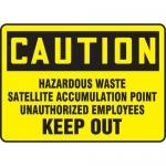 "Accuform MCHL645XF, OSHA Sign ""Caution Hazardous Waste Satellite…"""