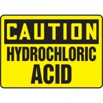 "Accuform MCHL664VA, Aluminum OSHA Sign ""Caution Hydrochloric Acid"""