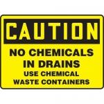"""Accuform MCHL691VA, Aluminum OSHA Sign """"No Chemicals in Drains Use…"""""""