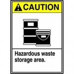 "Accuform MCHL718XF, ANSI Sign ""Caution Hazardous Waste Storage Area"""
