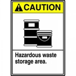 "Accuform MCHL718XL, ANSI Sign ""Caution Hazardous Waste Storage Area"""