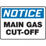 "Accuform MCHL805VA, Aluminum OSHA Sign ""Notice Main Gas Cut-Off"""
