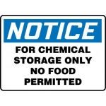 """Accuform MCHL813XF, OSHA Sign """"For Chemical Storage Only No Food…"""""""