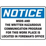 """Accuform MCHL814VS, OSHA Sign """"MSDS and The Written Hazardous…"""""""