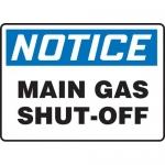 """Accuform MCHL820VA, Aluminum OSHA Sign """"Notice Main Gas Shut-Off"""""""