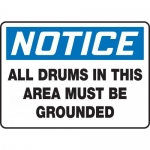 """Accuform MCHL824XT, OSHA Sign """"All Drums in This Area Must Be…"""""""