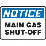 "Accuform MCHL832VA, Aluminum OSHA Sign ""Notice Main Gas Shut-Off"""