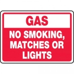 """Accuform MCHL934XV, Sign """"Gas No Smoking, or Matches or Lights"""""""