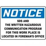 "Accuform MCHM810VS, Vinyl OSHA Sign ""SDS and The Written Hazardous…"""