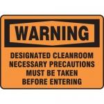 """Accuform MCLR301XL, OSHA Sign """"Designated Cleanroom Necessary…"""""""