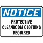 """Accuform MCLR803VS, Sign """"Protective Cleanroom Clothing Required"""""""