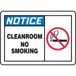"""Accuform MCLR804XL, Aluma-Lite OSHA Sign """"Notice Cleanroom No Smoking"""""""