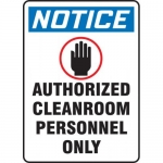 """Accuform MCLR810XL, OSHA Sign """"Authorized Cleanroom Personnel Only"""""""