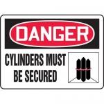 "Accuform MCPG014VA, Aluminum OSHA Sign ""Cylinders Must Be Secured"""
