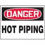 "Accuform MCPG021XV, Adhesive Dura-Vinyl OSHA Sign ""Danger Hot Piping"""