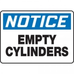 "Accuform MCPG802XF, Dura-Fiberglass OSHA Sign ""Notice Empty Cylinders"""
