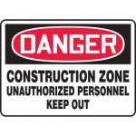 """Accuform MCRT089XT, OSHA Sign """"Construction Zone Unauthorized…"""""""