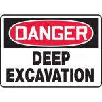 "Accuform MCRT103VA, Aluminum OSHA Sign ""Danger Deep Excavation"""